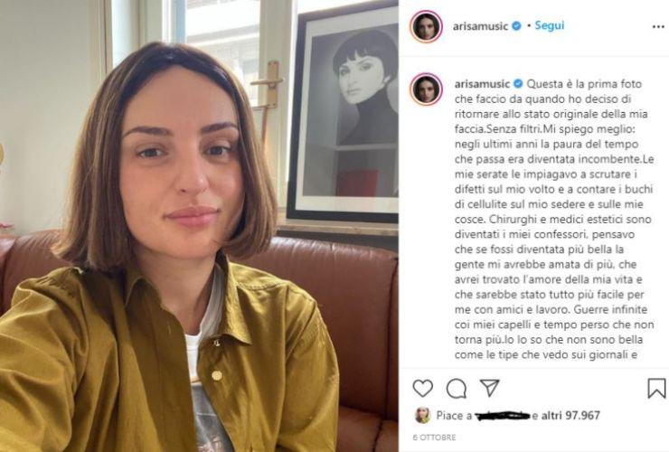arisa confessione della chirurgia su instagram