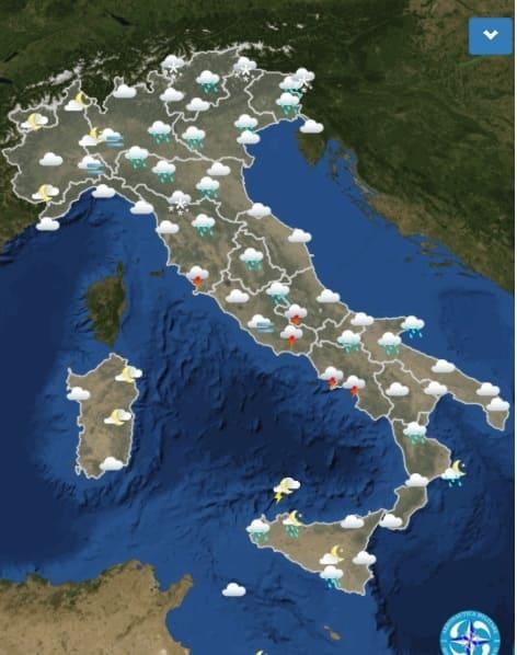 mappa italia meteo dicembre