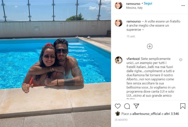 alberto urso con la sorella in piscina post instagram