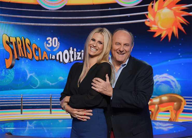 Michelle Hunziker Gerry Scotti Striscia la Notizia - Solonotizie24